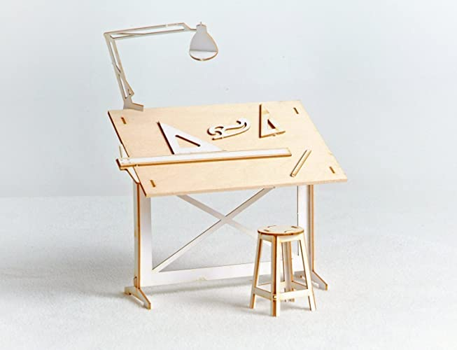 miniature drafting table model kit lasercut architectural diy model with real wood tabletop - Architectural Drafting Table