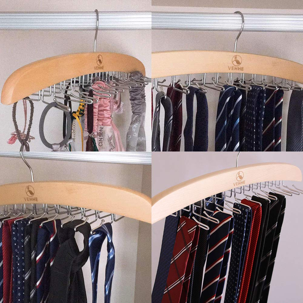 VEHHE Tie Rack Hanger Holder Hooks Organizer 2 Set Wooden Blet Hangers Homewares Closet Accessories Organizers /…