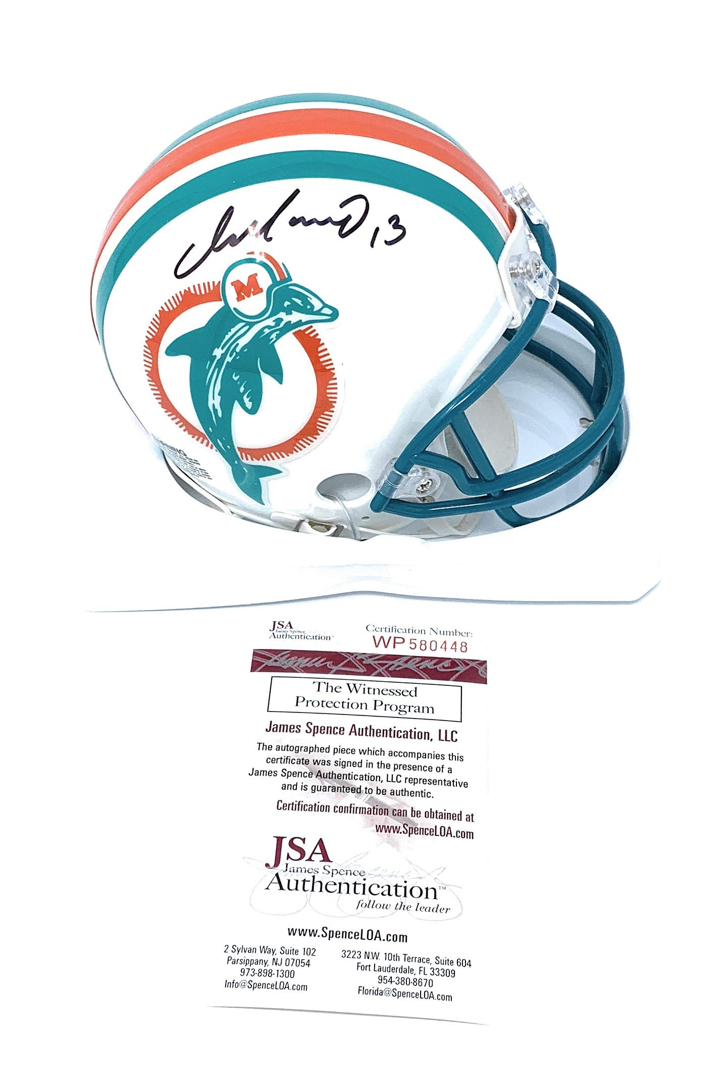 Dan Marino Miami Dolphins Signed Autograph Throwback Mini Helmet JSA Witnessed Certified