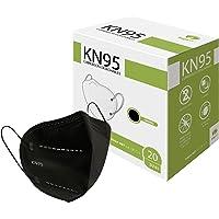 Raganet, 20 Cubrebocas KN95 Color Negro, Ajustador Nasal Oculto, Empacados en Bolsas Individuales. (20 Pack)