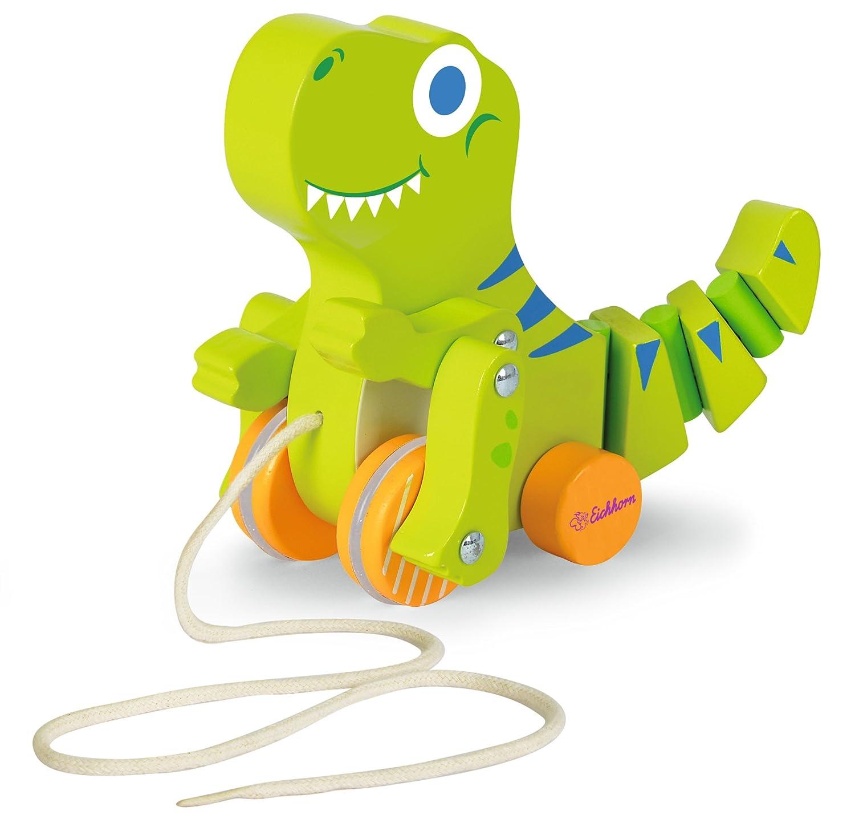 Eichhorn 100002425 - Nachziehtier Dinosaurier, mit Bewegung, 18cm lang, Birkenholz Simba Toys