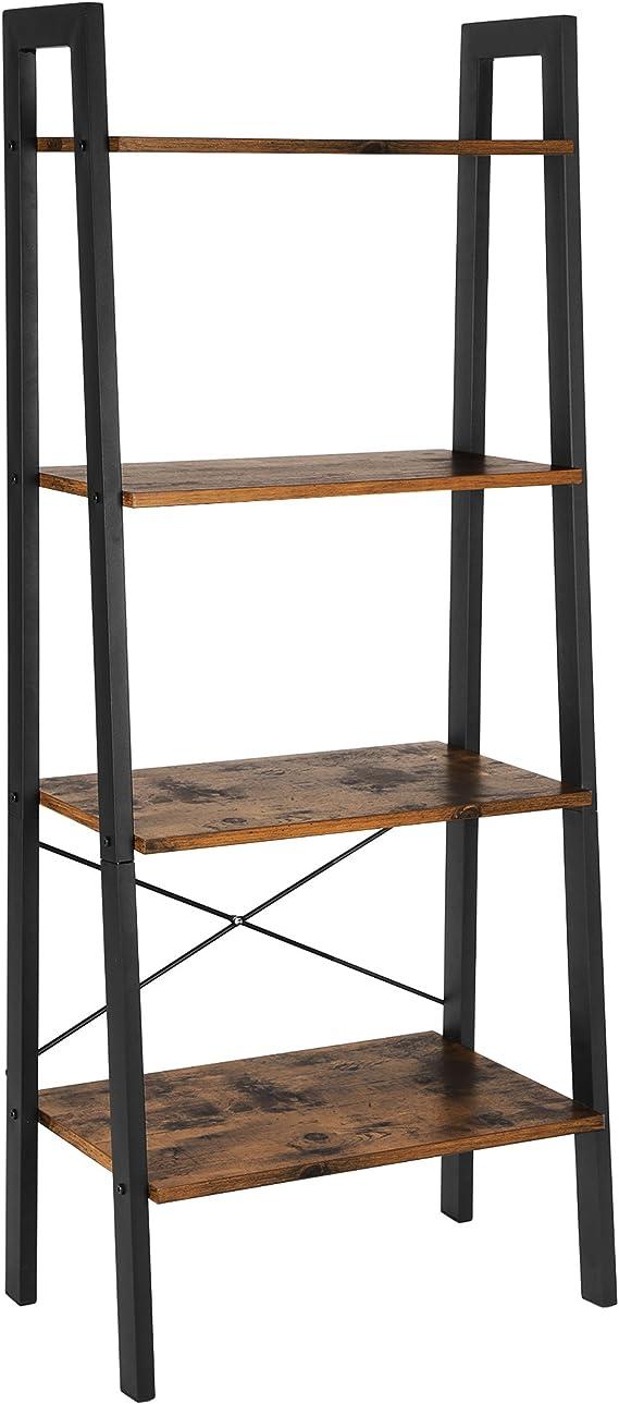 VASAGLE LLS44X - Estantería, estantería para Libros, 4 Niveles, Tipo Escalera, Metal Estable para el Marco, fácil Montaje, para salón, Dormitorio, Cocina, Vintage: Amazon.es: Hogar