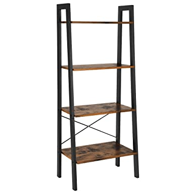 VASAGLE Vintage Ladder, 4-Tier Bookshelf, Storage Rack Shelf Unit, Bathroom, Living Room, Wood Look Accent Furniture Metal Frame ULLS44X