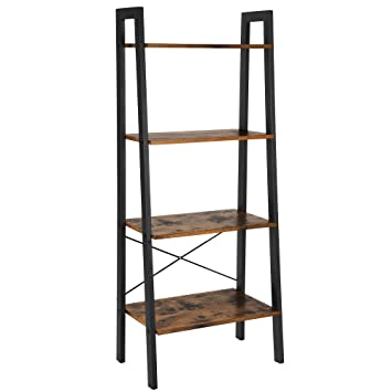 pretty nice 86052 f4942 VASAGLE Industrial Ladder Shelf, 4-Tier Bookshelf, Storage Rack Shelves,  Bathroom, Living Room, Wood Look Accent Furniture, Metal Frame, Rustic  Brown ...
