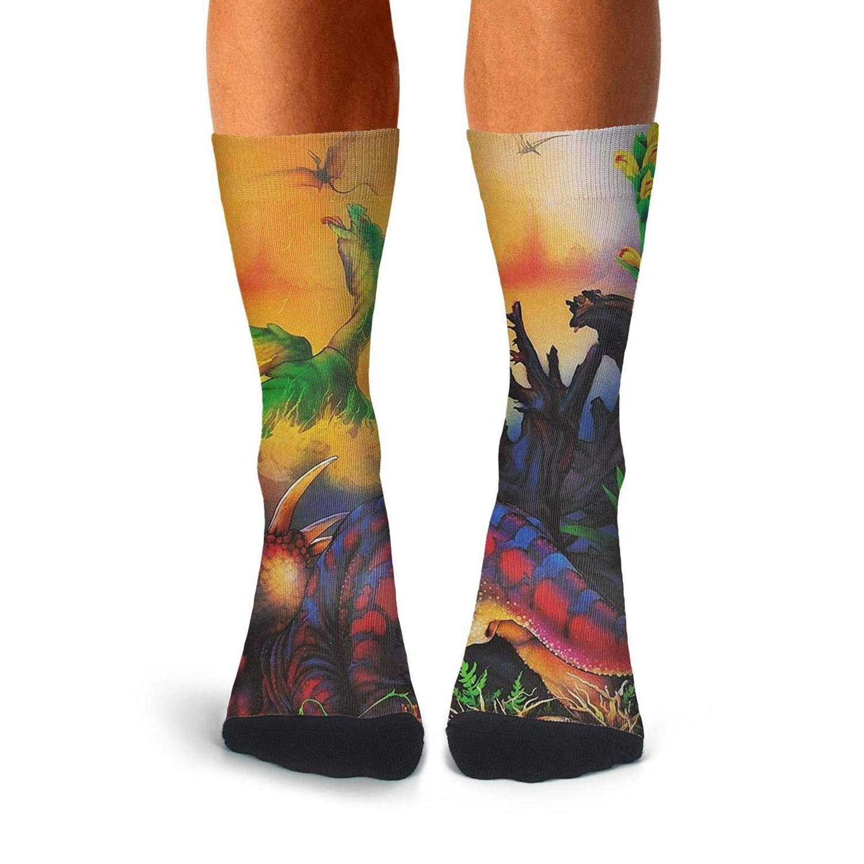 Over The Calf Socks For Men Pattern Compression Stockings Men KCOSSH Dinosaur Mens Socks Crew Novelty