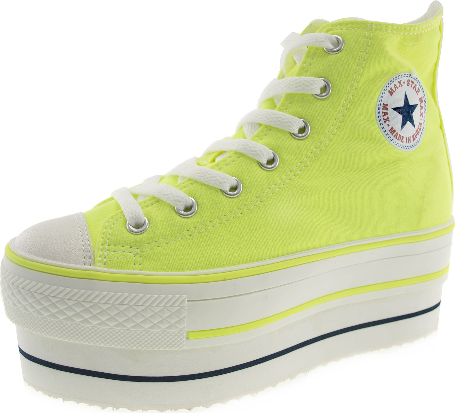 CN9 8 Holes Double Platform Denim Studed Taller Insole High Top Sneakers B00D12HW5A 9 B(M) US|Neon Green