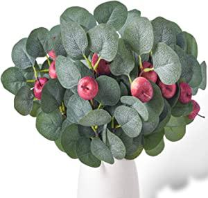 EREFAS 12Pcs Artificial Eucalyptus Leaves Stems with Apples Eucalyptus Greenery Spray 13.38'' Faux Eucalyptus Branches Christmas Sprigs Decor for Home Party Décor Green Leaves with Red Apples
