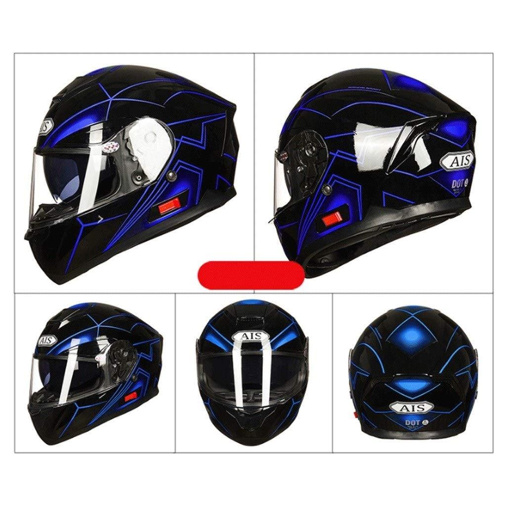 OUTO Casque D/étachable Multi-Fonction Anti-bu/ée Double Lentille Moto Hommes Et Femmes Casque Int/égral Bluetooth Casque Color : Color, Size : L
