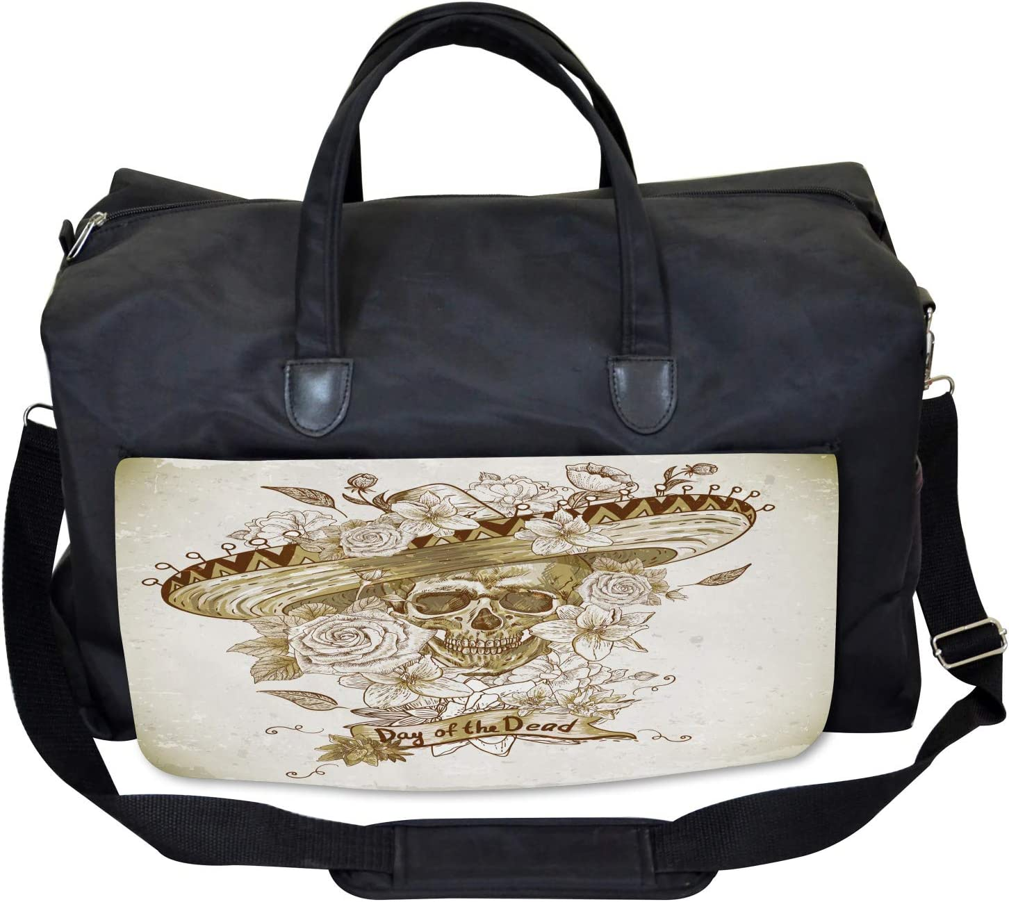 Large Weekender Carry-on Spanish Dead Hat Ambesonne Wooden Gym Bag