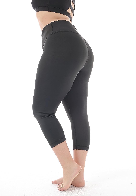 e806695280f6d Amazon.com: Zerdocean Women's Plus Size High Waist Tummy Control Yoga  Running Capri Leggings: Clothing
