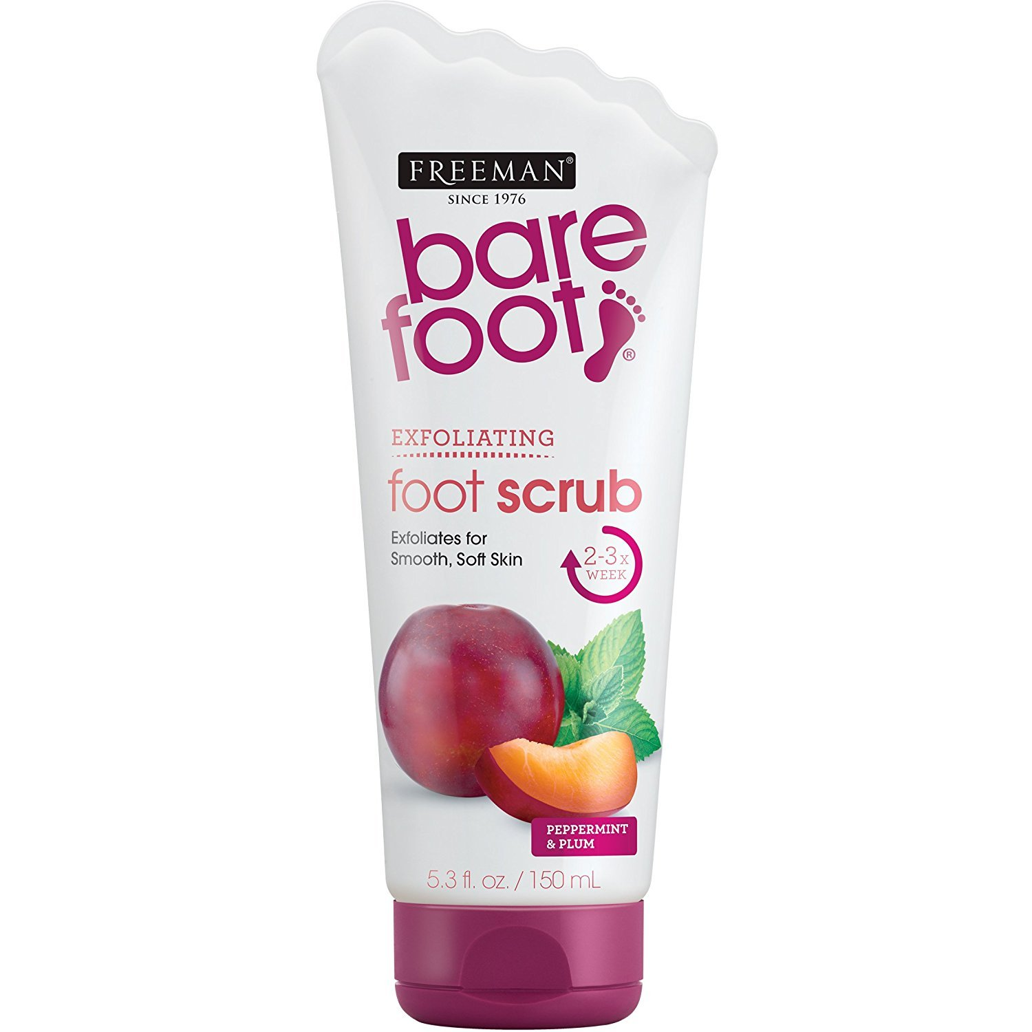 Freeman Bare Foot Exfoliating foot scrub Peppermint and Plum 5.3 oz ( Packs of 6) by Freeman