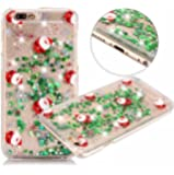 """iPhone7 Plus Christmas Full Santa Liquid Sand Shell, Shiny Flowing Green Stars Paillettes Slim Cover, OMORRO Newest Fashion Transparent Ultralight Thin Case for Apple iPhone 7Plus 5.5"""""""