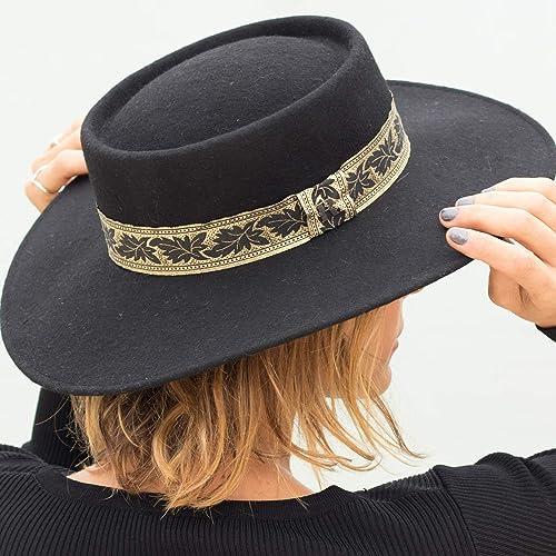 6b40ffc4f12 Image Unavailable. Image not available for. Color  RACEU ATELIER quot El  Poet quot  Black Hat - Wide Brim ...