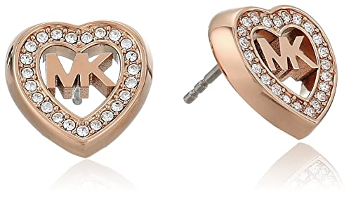 48f2819a91c8 Michael Kors Womens Rose Gold-Tone Heart Stud Earrings