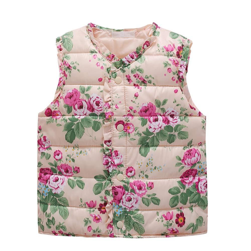 Qlan Girls Gilet, Toddler Clothes Coat Little Girls Vest Coat Flower Printed Waistcoat