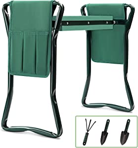 Garden Kneeler and Seat Bench Stools KITADIN Foldable Stool with Tool Bag Pouch EVA Foam Pad Outdoor Portable Kneeler for Gardening (6, 1)