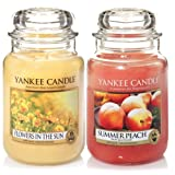 'Yankee Candle–Set di 2barattoli Classic Signature Large–Flowers in the sun & Summer Peach
