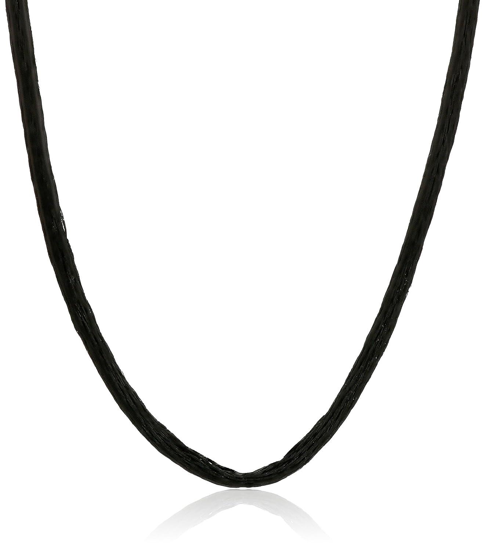 Black Silk Satin Silver Clasp Cord Chain Necklace 14 16 18 20 22 24 30 36 40 iJewelry2 JK-satin-14in