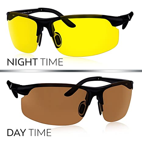 0e9e64fe55b3 Set Of 2 HD Driving Glasses By Knight Visor® - Yellow Lens Night Vision  Glasses   Copper Lens Day Time Driving Glasses Perfect For Hunting