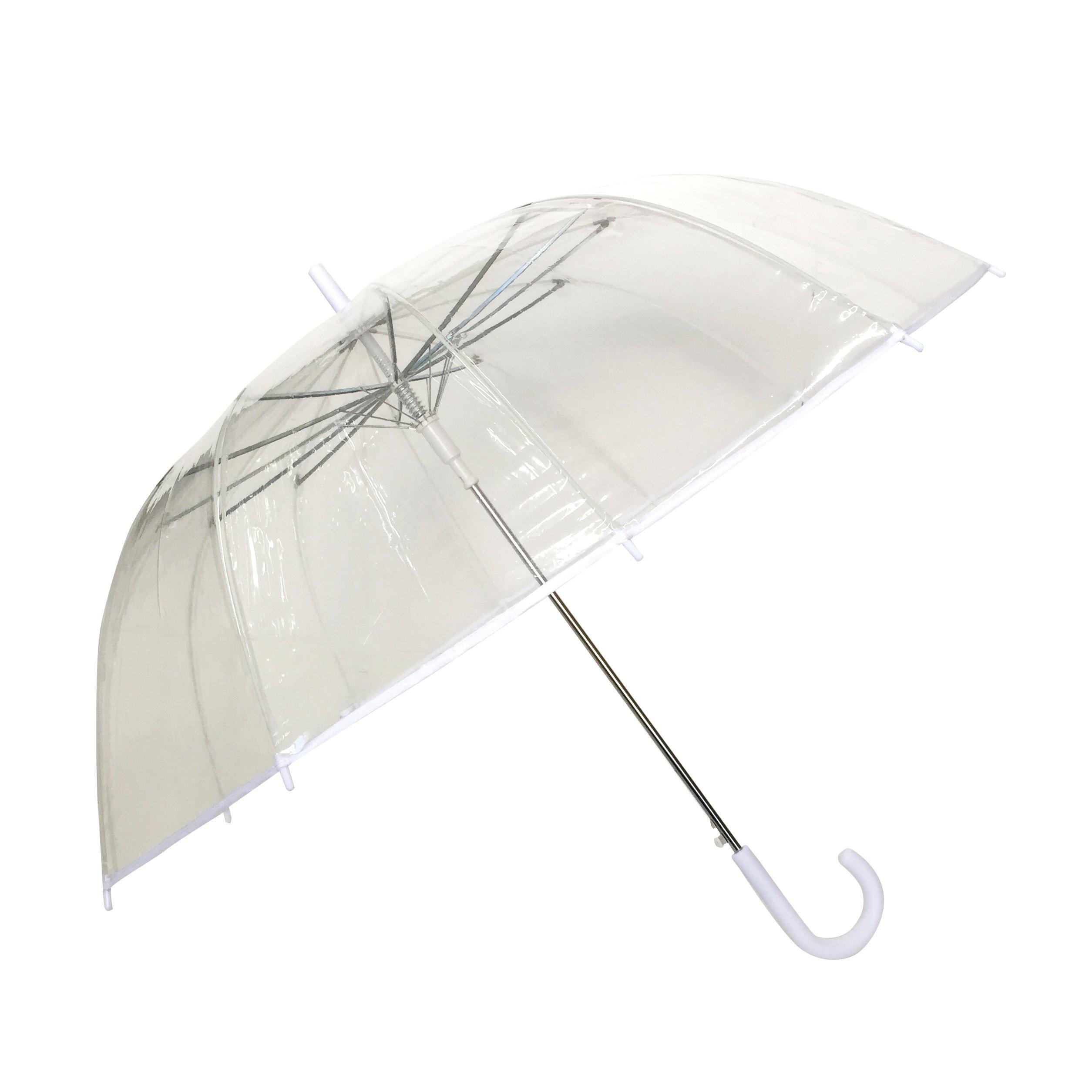 SMATI - Stick Umbrella - Clear Bubble Canopy - Big Size - 12 Fiberglass Ribs - Windproof - Auto Open - See Through (Transparent White)