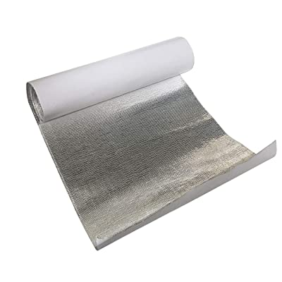 "0.5mm Thickness Thermaflect Heat Shield Cloth Aluminum Fiberglass Heat Shield Protection with Self-Adhesive Backing Heat Barrier 1 Square Foot (12"" x 12""): Automotive"