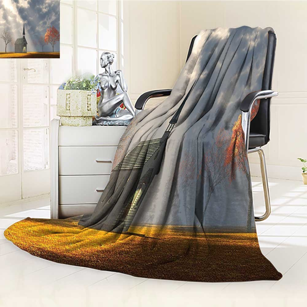 AmaPark Digital Printing Blanket Christian Small Church Trees View Silky Satin Orange White Gray Summer Quilt Comforter