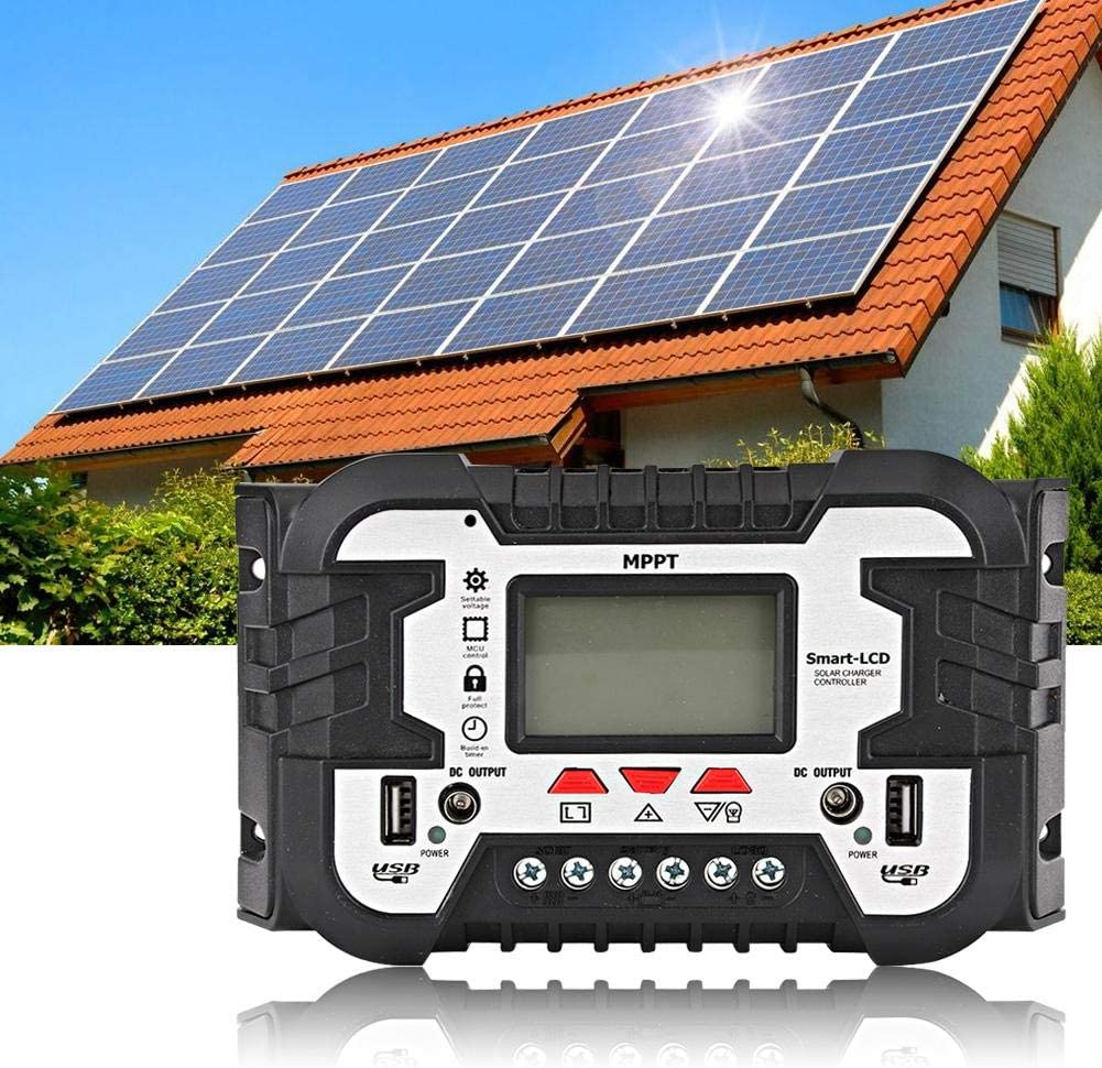 30A MPPT Solar Charge Controller 30A//50A//80A Solar Charger Controller MPPT Dual USB LCD Display 2.4A 12V24V IP32 Waterproof Solar Panel Battery Intelligent Regulator