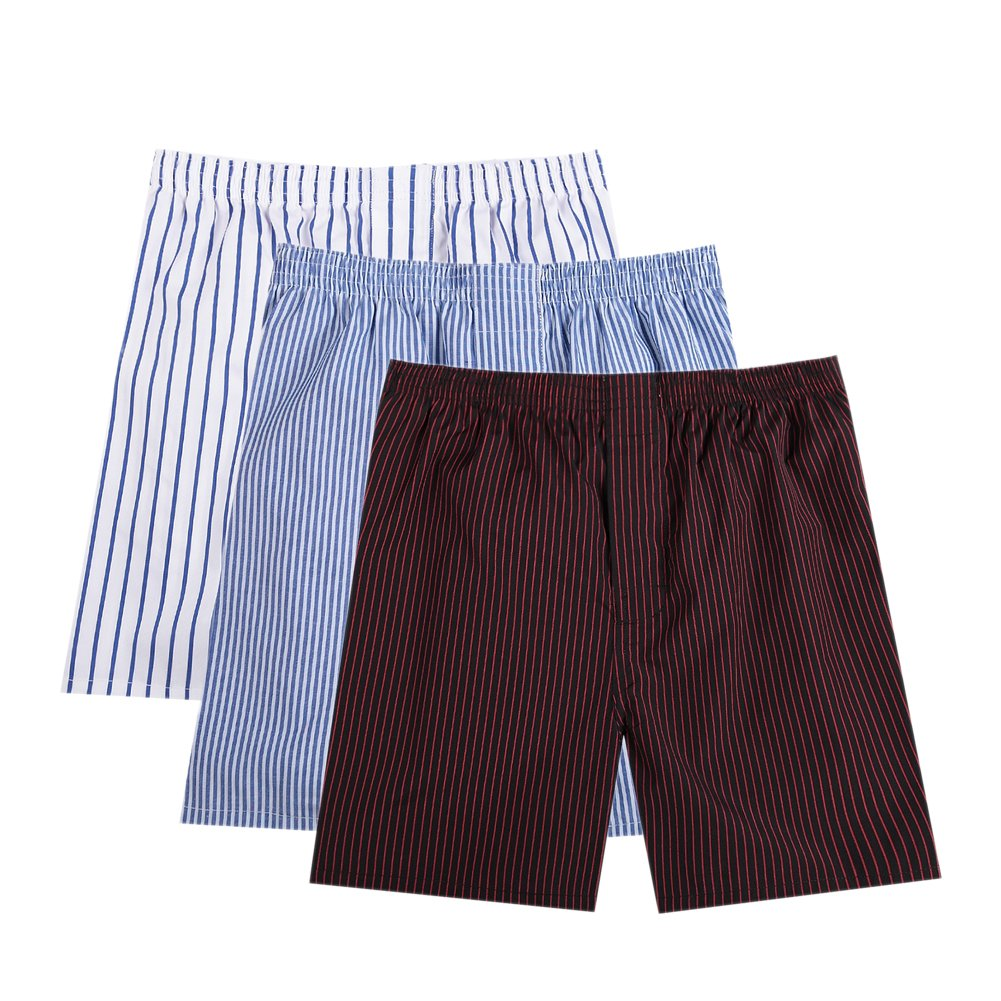 Pau1Hami1ton B-01X Men's Woven Boxer Shorts Cotton Trunks Button Plaid Briefs Checkered Underwear(Pack of 3)(B2#,M)