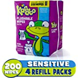 Kandoo Kids Flushable Wipes Refill, Potty Training Cleansing Cloths, Sensitive, 200 Count