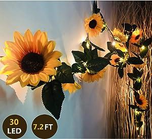 Fielegen 30 LED 7.2ft Artificial Sunflower Garland String Lights Sunflower Home Decor Battery Powered String Fairy Lights for Indoor Bedroom Wedding Birthday Party Holiday Garden Decor, Warm White