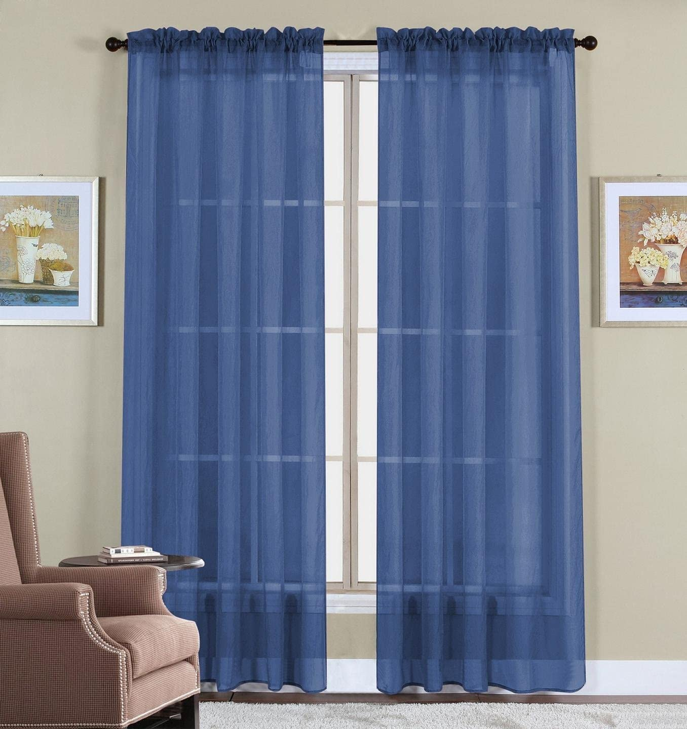 "WPM 2 Piece Beautiful Sheer Window Elegance Curtains/Drape/Panels/Treatment 60"" w X 84"" l (Navy Blue)"