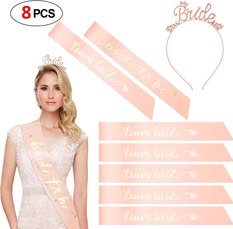 Diamond Design Rose Gold Bride To Be Sash Tiara Headband for Bridal Wedding US