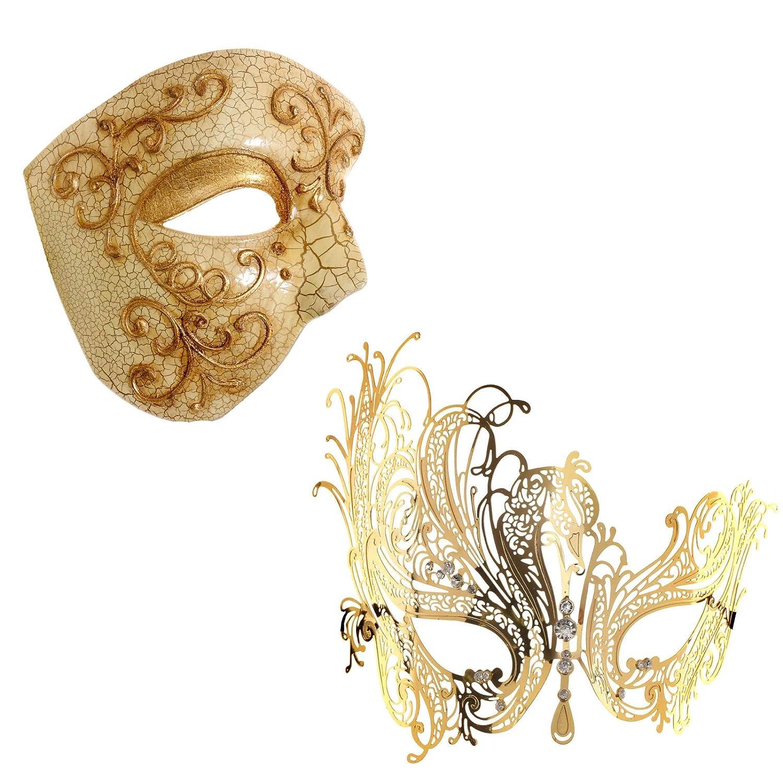 Sparkling Rhinestone Swan Laser Cut Metal Venetian Masquerade Ball eye Mask Girl