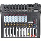 Ammoon CT80S-USB - Mixer digitale Audio USB, a 8 canali, con alimentazione 48 V per registrazione DJ, karaoke, musica