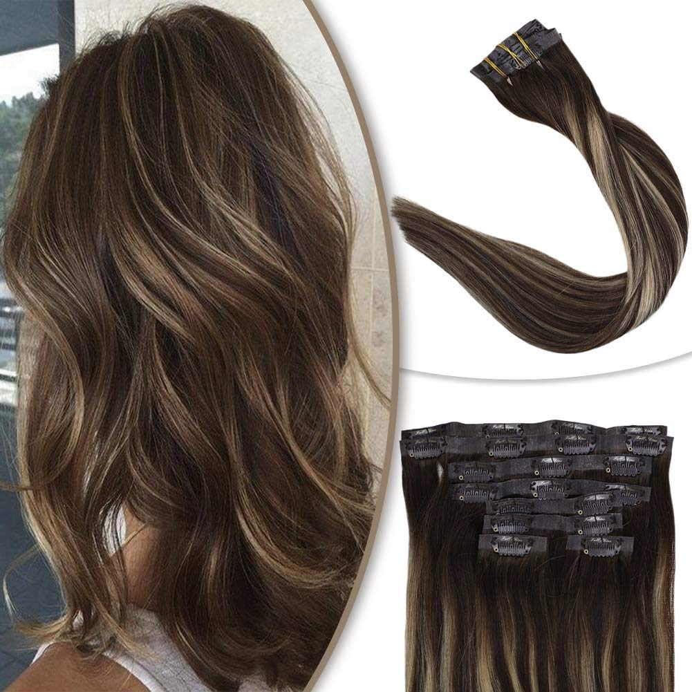 Full Shine Bayalage Seamless Clip In Medium Brown Fading To Honey Blonde Highlighted Color PU Clip In Hair Extensions 100 Grams 8 Pieces 16 Inch Remy Comfortable Silky Straight Hair Skin Weft Clip Ins by Full Shine