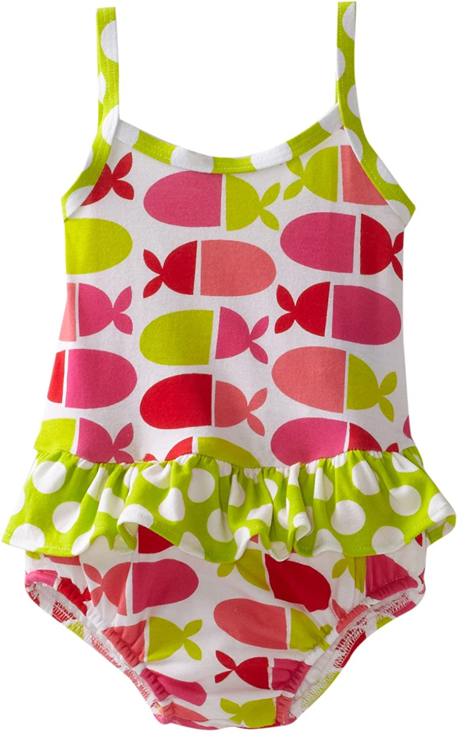 Flap Happy Baby Girls Contrast Maillot Suit With Diaper
