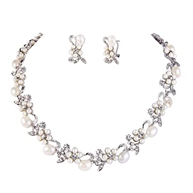 TENYE Crystal Simulated Pearl Bridal Floral Vine Necklace Earrings Set Clear Silver-Tone wq10ha