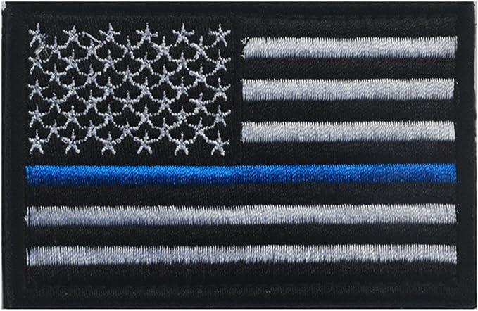 Bandera de Estados Unidos parche delgada línea azul Policía bandera americana Militar bordar motocicleta Biker etiquetas táctico totalmente bordado parche coser hierro on-police y aplicación de la ley Honor EE. UU.: Amazon.es: