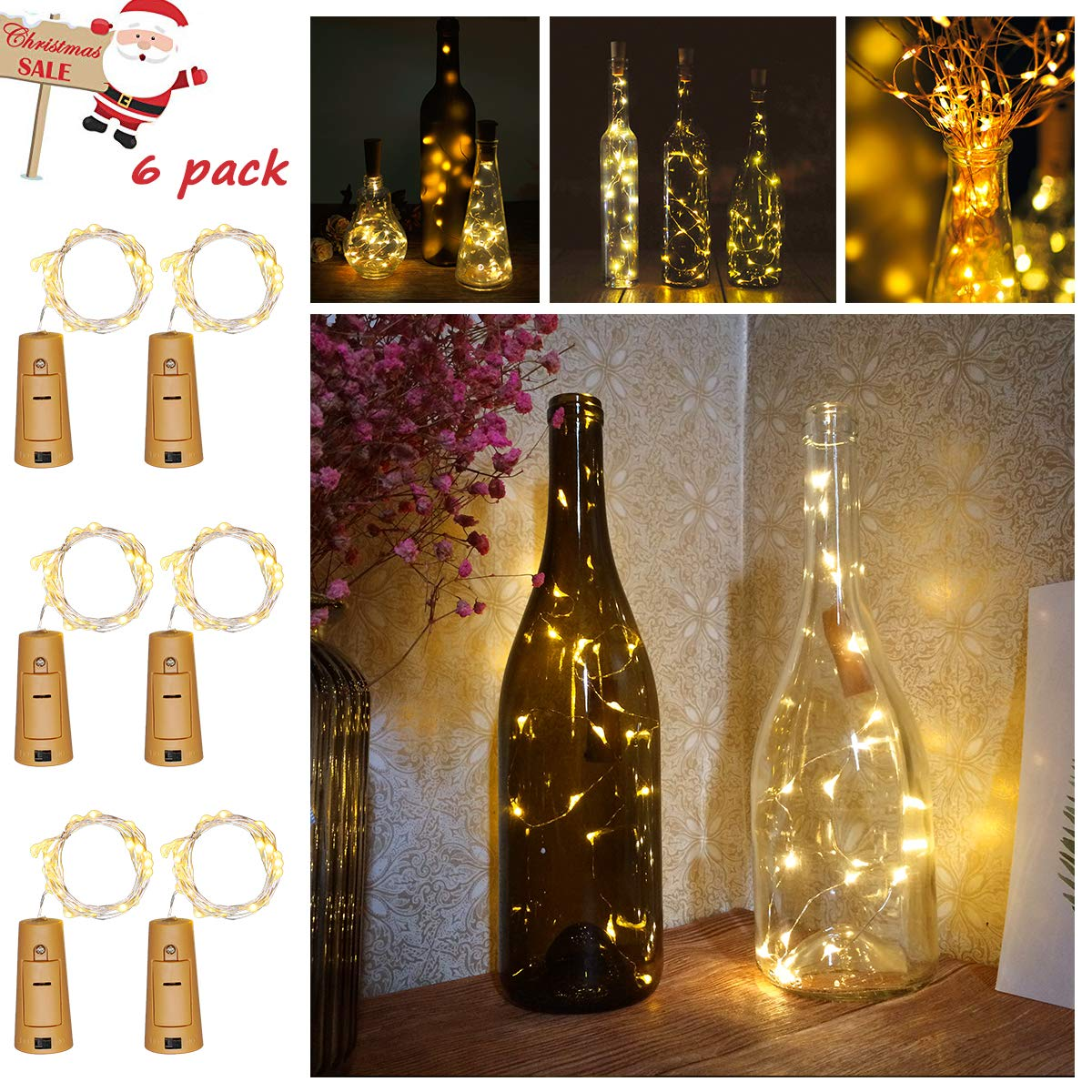 YOUNGFORCE Bottle Lights 6 Packs Cork Shape Bar String LED Lights for Wine Bottle Glass Decor Copper Wire DIY Lights with Screwdriver for Party Warm White 2M 7.2 Ft.