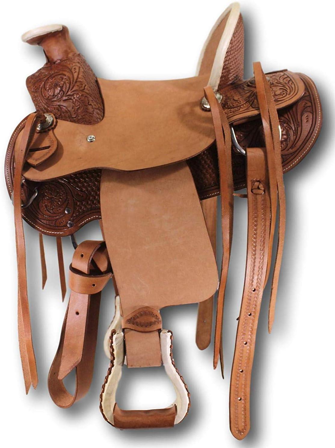 "Western Natural  Leather Hand Carve Roper Ranch Saddle 15/"",16/""17/""18/"""