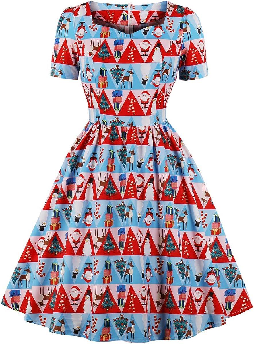Wellwits Womens Triangle Fancy Pattern Print Tea Length 1950s Vintage Dress