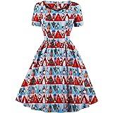Wellwits Women's Triangle Fancy Pattern Print Tea Length 1950s Vintage Dress