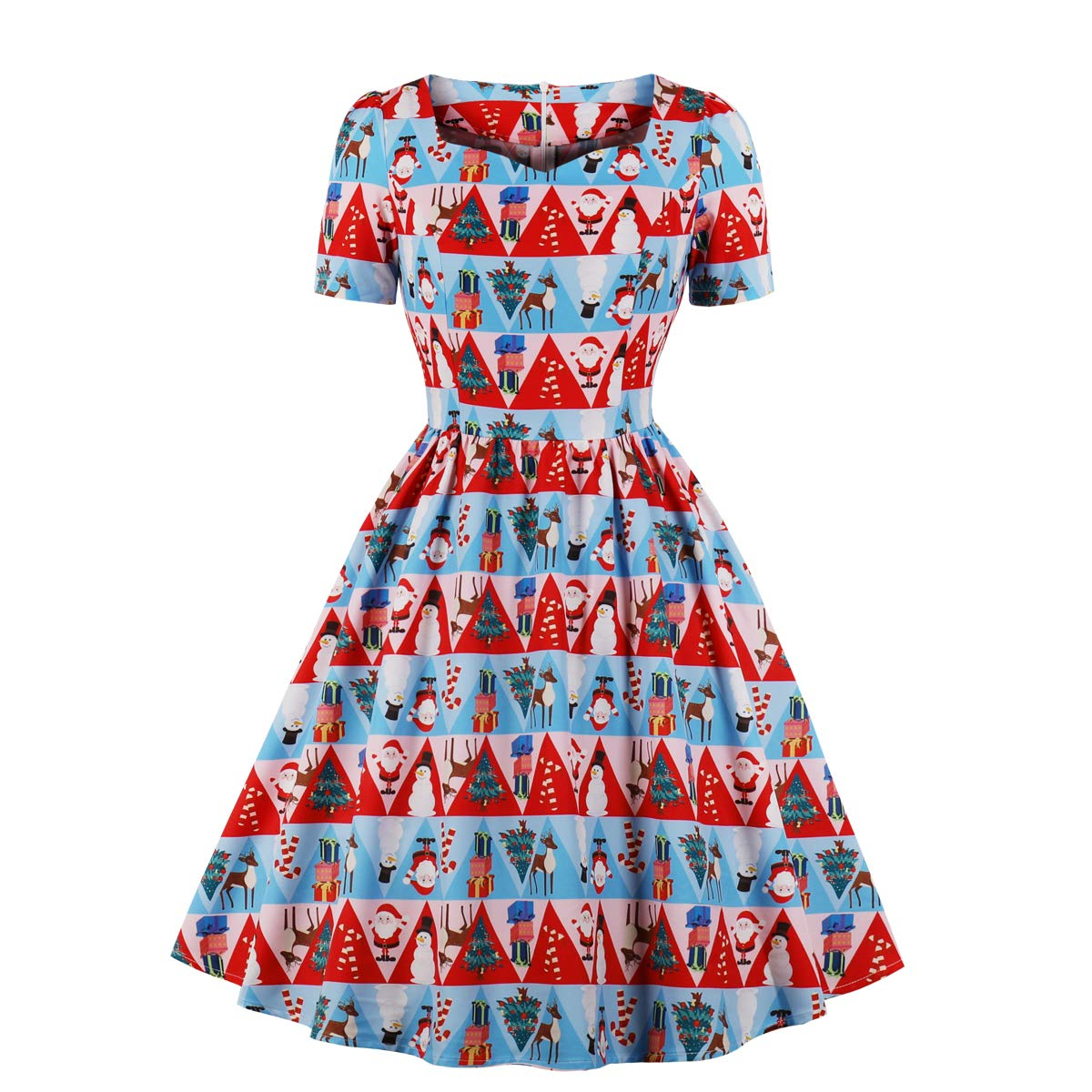 Vintage Christmas Gift Ideas for Women Wellwits Womens Triangle Fancy Pattern Print Tea Length 1950s Vintage Dress $22.98 AT vintagedancer.com