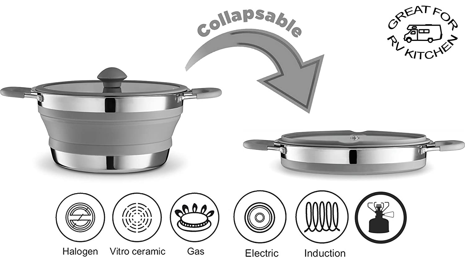 Gourmia Outdoors, GCP9940 3qt Collapsible Pot – Hiking, Stainless Steel, Silicone and and Glass Lid – for Gas and Electric Stove Cooking – Great for RV, Outdoors, Hiking, Camping, Traveling - BPA Free [並行輸入品] B07R3Y4545, 葡萄畑 ココス:eb600643 --- anime-portal.club