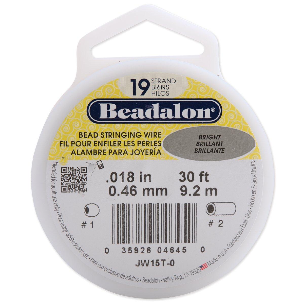 "Beadalon 19 Strand Flexible Wire .018/"" 0.46mm Dia Satin Silver 30ft"