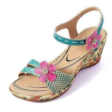 06c55aefd33bcc Camfosy Damen Vintage Leder Sandalen