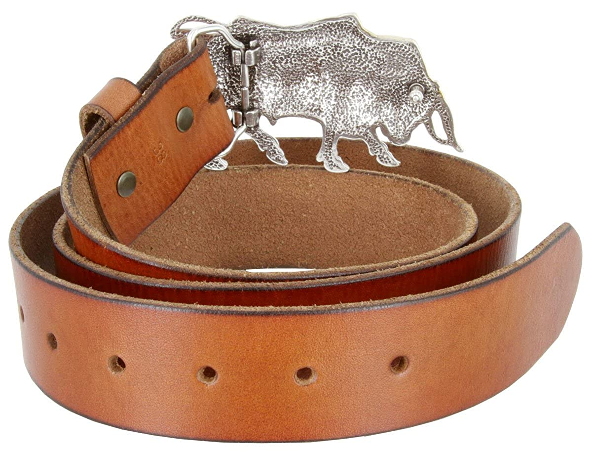 Mens Western Antique Silver//Gold Finish Lady Bull Dress Belt With Genuine Full Grain Cowhide Leather