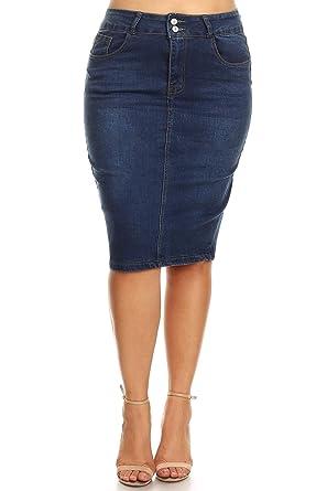 36df6e76233c Fashion2Love Women's Plus Size Push-Up Mid Waist Stretchy Pencil Denim Midi  Skirt in M. Blue Size 1XL at Amazon Women's Clothing store: