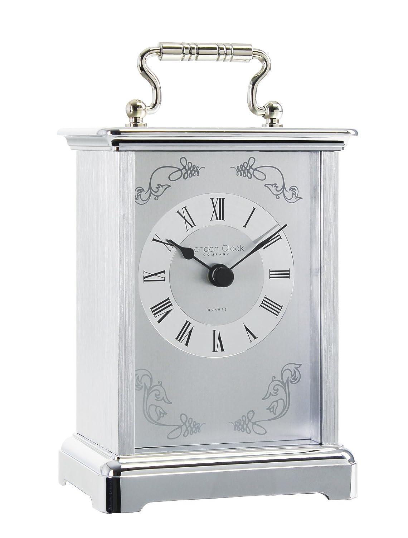 Chrome Carriage Mantle Clock 03001 London Clock Company