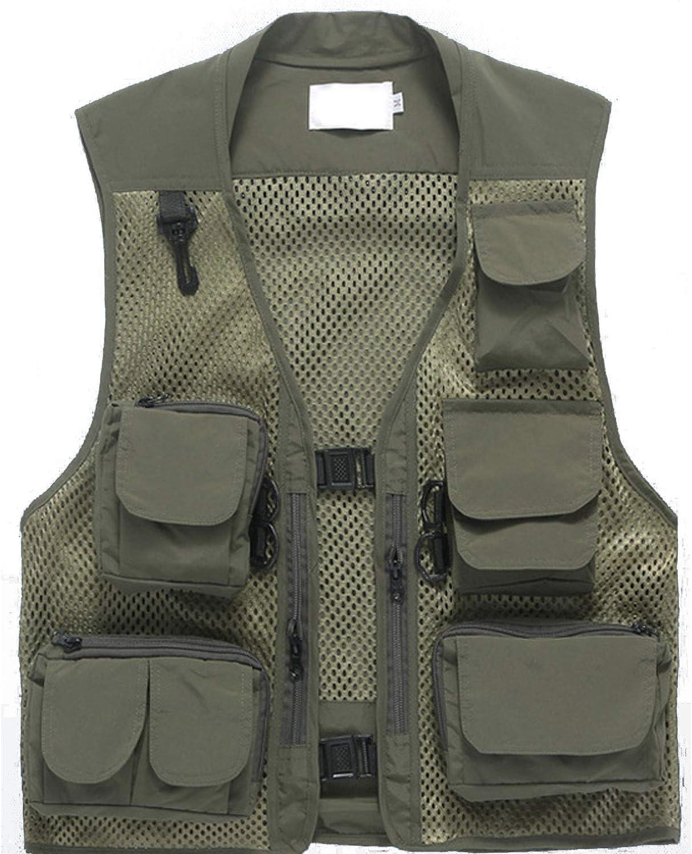 Freiesoldaten pour des Hommes Multi Pocket Gilet Ext/érieur P/êche Camping V/êtements dext/érieur Mesh Respirant Gilet D/écontract/é